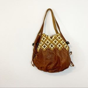 Lucky Brand Brown Distressed Leather Hobo Bag